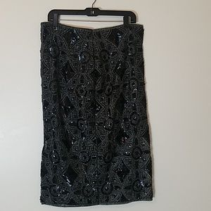 Express black and silver lace skirt